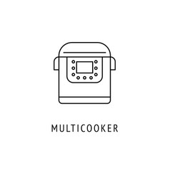 multicooker kitchen appliances icon vector image