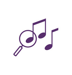 Music search finder outline icon logo note vector