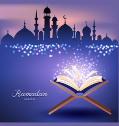 Muslim quran with mosque and abstract candles vector