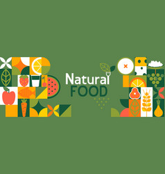Natural food banner in flat style vector