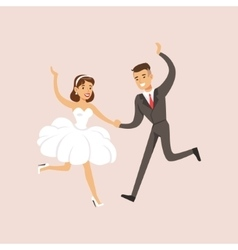 Newlyweds Doing First Modern Dance At The Wedding vector
