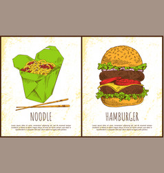 Noodle and hamburger fast food colorful posters vector