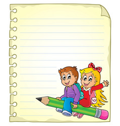 Notebook page with school kids 1 vector