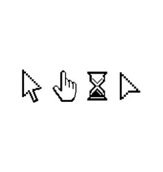 Old computer mouse pointers pixelated cursors vector