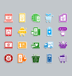 Online shop patch sticker icons set vector