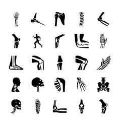 orthopedic and spine solid icons set vector image
