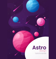 Outer space futuristic cartoon background cover vector