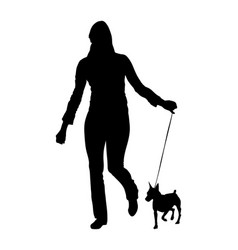 Owner woman with miniature pincher dog silhouette vector