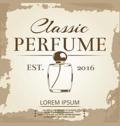 Perfume vintage label on vintage poster background vector