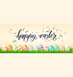 Poster for happy easter holidays painted eggs in vector