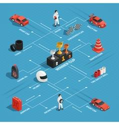 Racing Isometric Flowchart Concept vector