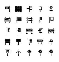 Road signs and junctions glyph icons set vector