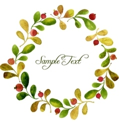 Round wreath with watercolor green leaves and red vector
