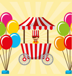 Salesman booth food and balloons carnival fun fair vector