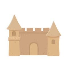 sand castle cartoon isolated design icon white vector image