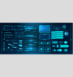 Sci-fi digital interface elements hud for game ui vector