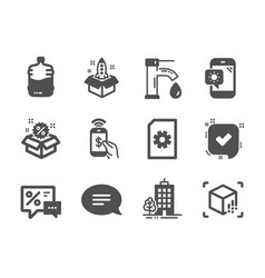 Set business icons such as skyscraper vector