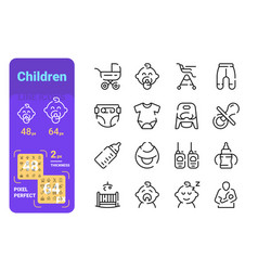 set children simple lines icons kid equipment vector image