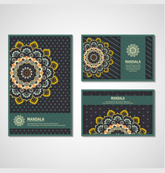 set of cards with mandala vector image