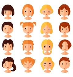 set of cartoon avatar flat girls icons vector image
