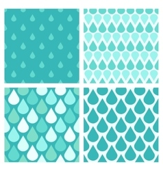Set of turquoise water drops seamless vector image