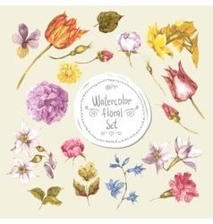Set watercolor floral design elementspeonies vector