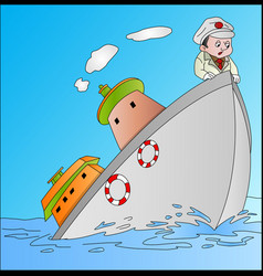 ship sinking with captain vector image