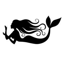 Silhouette of mermaid vector