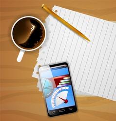 Smartphone on desk vector
