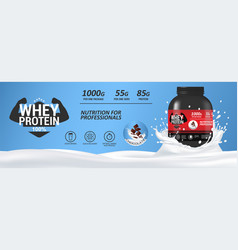 sport nutrition whey protein mockup banner vector image