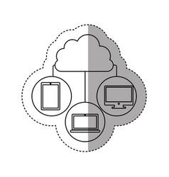 Sticker contour cloud in cumulus shape connected vector