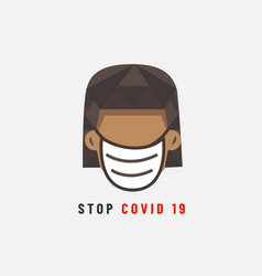 Stop covid19 19 head girl vector