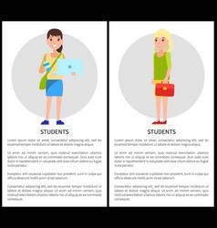 Student girls poster set vector