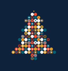 stylized christmas tree in dots pattern greeting vector image