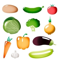 Stylized simple plastic vegetables icons vector