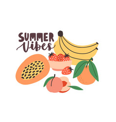 Summertime composition with summer vibes vector