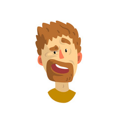surprised face of young bearded man emotional vector image