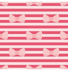 Tile pattern with pastel pink bows on a red strips vector image