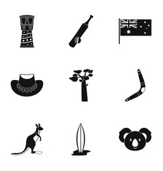 Tourism in australia icon set simple style vector