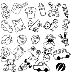 Toy doodle art for kids vector image
