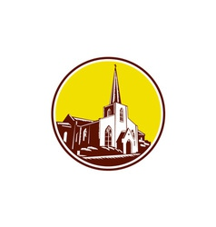 Trinity parish episcopal church woodcut retro vector