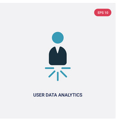 two color user data analytics icon from user vector image