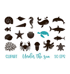 Underwater animals clipart - a set silhouettes vector