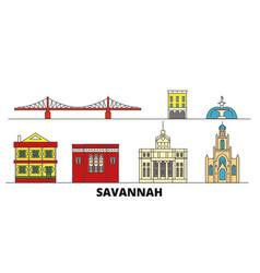 United states savannah flat landmarks vector
