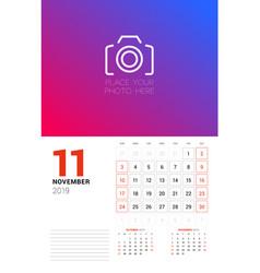 Wall calendar planner template for november 2019 vector