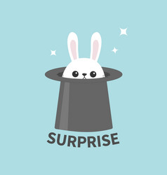 white bunny rabbit in magic hat sining stars vector image