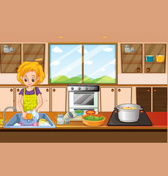 Woman doing dishes in kitchen vector