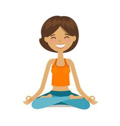 yoga girl in lotus position cartoon vector image