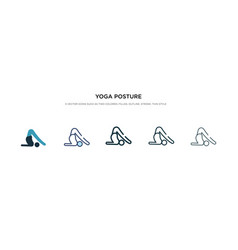 Yoga posture icon in different style two colored vector