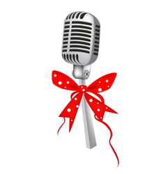 A Beautiful Vintage Microphone with Red Ribbon vector image